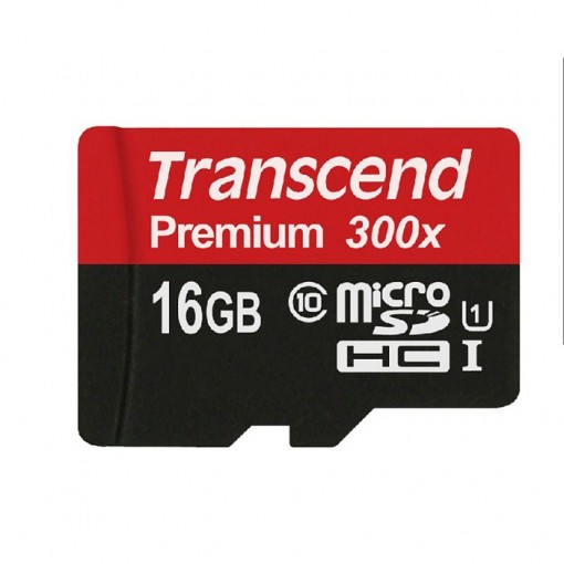 Transcend MicroSDHC 16GB Class 10 UHS-I + SD-adapter